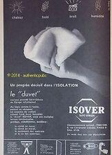 PUBLICITE SAINT GOBAIN ISOVER LE DUVET ISOLATION DE 1960 FRENCH AD PUB VINTAGE