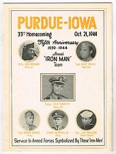 RARE! 1944 Iowa Hawkeyes vs Purdue Homecoming Football Program NILE KINNICK!
