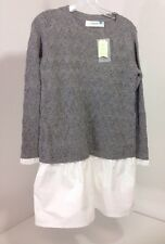 ANTHROPOLOGIE SPARROW WOMEN'S TWO-FOR WOOL BLEND SWEATER GRAY XS NWT