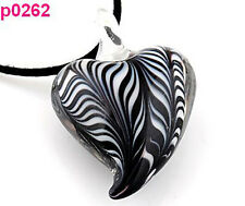 Hot Curves Art Lampwork Glass Heart Pendant Zebra striped Necklace EY22