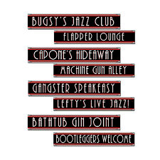 4 pc GANGSTER Jazz Speakeasy Street Signs Cardboard Cutout Birthday Party Decora