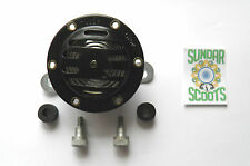 6 VOLT AC MILANO STYLE  HORN & FIXINGS. BLACK SUITABLE FOR LAMBRETTA SCOOTERS