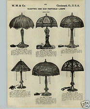 1913 PAPER AD Gas Electric Parlor Lamps Open Work Metal Shade Slag Glass