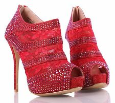 Red Bridal Peep Toe Rhinestones Blink Zip Womens High Heels Shoes Size 9