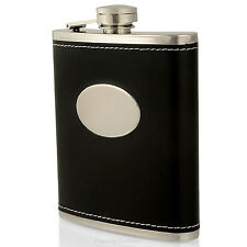 Personalised Black Leather Style Hip Flask Mens Gift FREE Engraving Usher Groom