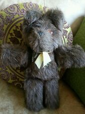 Vintage Brown Teddy Bear long brown fur, plastic eyes, plastic moulded nose 14""