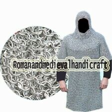 ALUMINIUM ROUND RIVETED XXXL CHAIN MAIL SHIRT 9mm 16G MEDIEVAL CHAINMAIL + COIF