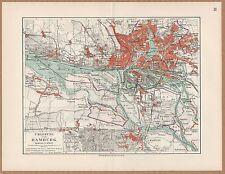 Landkarte map 1912: UMGEBUNG VON HAMBURG. Harburg Wilhelmsburg Ottensen Flottbek