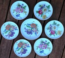 VINTAGE FURSTENBERG WEST GERMAN PORCELAIN 6 COASTERS & 1 PIN TRAY FLORAL PATTERN