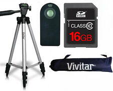 "50"" VIVITAR PRO TRIPOD + REMOTE CONTROL + 16GB SD CARD FOR CANON EOS REBEL DSLR"