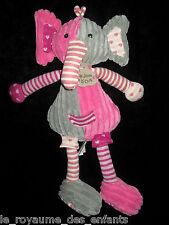 Doudou Eléphant rose gris rayé velours côtelé Histoire d'Ours 35cm Bric à Brac