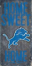 "Detroit Lions Home Sweet Home Wood Sign 12"" x 6"" [NEW] NFL Man Cave Den Wall"