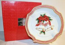 FITZ FLOYD CHRISTMAS HOLIDAY BELLS CANAPE PLATE PORCELAIN W/ ORIGINAL PACKAGING