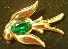 Vintage Coro Pegasus swallow bird brooch pin emerald belly C1