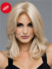 US Hot Women's Fashion No Bangs Long Mix Blonde Wavy Hair Cosplay Wigs
