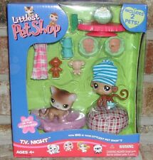 Littlest Pet Shop RARE 2006 TV NIGHT Calico Cat 19, Monkey 57 accessories+