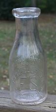 1920s Milk Bottle Vintage Emboss PINT Cape May NJ - FS Schellenger Dairy RARE