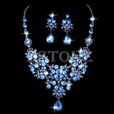 Wedding Bridal Prom Crystal Rhinestone Pendant Necklace & Earrings Jewelry Sets