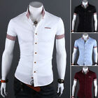 2016 Mens Luxury Casual Slim fit Stylish Dress Short Sleeve Shirt 4Colors 4Size