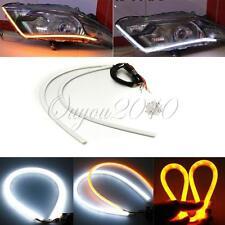2pcs 60CM Flexible Tube Guide Car LED Strip White DRL & Amber Turn Signal Light