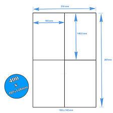 400 Etichette Bianche Adesive 105x148 su foglio A4 per Stampanti Laser Inkjet