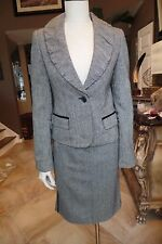 LAUNDRY Tweed Wool Blend Ruched Collar Blazer & Pencil Skirt Suit 8/4