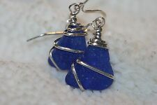 Genuine blue cobalt beach sea glass sterling wire wrapped drop dangling earring