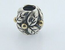790499 PANDORA STERLING SILVER & 14 KARAT GOLD HOLLY LEAVES BEAD RETIRED BOX