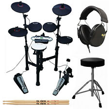 Carlsbro Compact 9-Piece Electronic Drum Kit Set +Cannon Throne +Drum Headphones