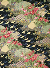 Asian Dreamscape - Black/Gold Metallic Asian Japanese Quilt Fabric (1/2 Yd.)
