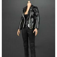 """1/6 Scale Leather Coat Pants Vest Kit for 12"""" Female Action Figure Outfit"""