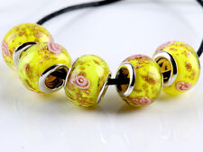 5Pcs SILVER MURANO GLASS BEAD Fit European Charm Bracelet Jewelry Making NEW