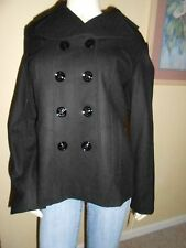 NWT GUESS BLACK WOOL JACKET/COAT W/OUT HOOD 100%AUTHENTIC-LG