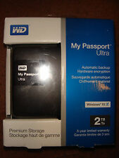 WD 2TB Black My Passport Ultra Portable External Hard Drive -USB-NIB & Seal