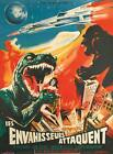 King Kong Godzilla VINTAGE HORROR MOVIE POSTER-QUALITY CANVAS PRINT A1
