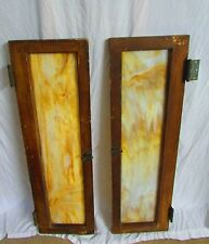 2 Vintage Wood Windows With Mixed Color Vintage Glass With Waves In Glass