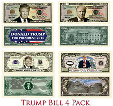 Donald Trump Novelty Bill 4 Pack - Candidate, President, Commander In Chief MAGA