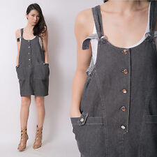 Vintage Black Denim Babydoll Overall Dungaree Pinafore Mini Jeans Dress 10 12