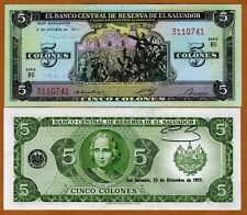 El Salvador, 5 Colones, 1977, P-126, UNC   Columbus, Pre-USD$