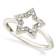 So Cute! 100% 10K White Gold White Diamond Star Shaped Fashion Ring - .03ct