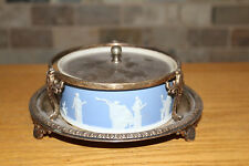 Antique Wedgwood Light Blue Jasper Ware Large Covered Butter Dish (c.1900)