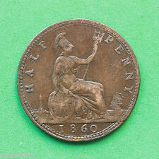 1860 Queen Victoria - Halfpenny - Rare F260a SNo15962