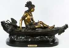 'Boy on the Boat' BEAUTIFUL BRONZE Statue Signed Charles Marion Russell