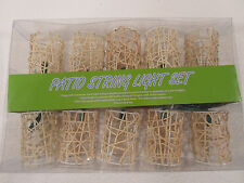 Set 10 lights Bamboo wicker Christmas Holiday string party camping patio Rattan
