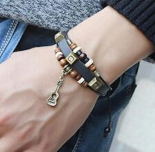 Fashion Jewelry Retro Guitar Pendant Infinity Leather Charm Bracelet A16