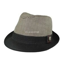 Black Men Women Unisex Summer Beach Trilby Fedora Straw Panama Cap Sun Hat