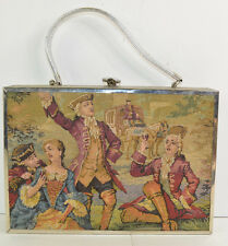 Vintage Purse Colonial lady Carriage Tapestry Handbag Box Purse Large 3D