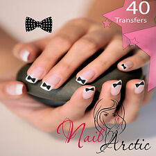 40  x Black Bows Spots Nail Art Sticker Water Decals Transfer Stickers Tips