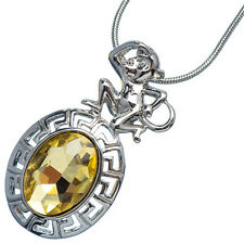4.76 Ct Oval Citrine 18K White Gold Plated 12 Chinese Zodiac Monkey Pendant
