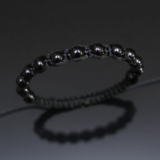 8mm All Black Beaded Shamballa Adjustable Bracelet Boho Men Women Unisex